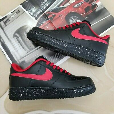 77df70001485 Nike Air Force 1 Low iD Custom Men s Shoes Size 8.5 Black  Red  Silver