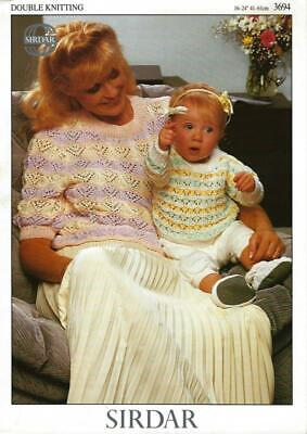 "Si3694 Ladies / Childs Dk Lacy Sweaters Knitting Pattern 16-24"" & 28-40"""