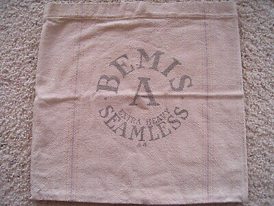 FEED SEED BAG BEMIS A SEAMLESS Extra Heavy cotton canvas grain SACK Pillow Cover