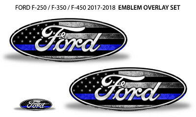 Oval Badge Emblem Overlay Decals For Ford F-250 F-350 F-450 2017-2018 BLUE LINE