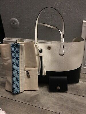 202f550793a TORY BURCH PERRY Color-Block Leather Tote with Tassel Ivory   Black ...
