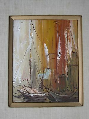 Vintage MCM Sailboats Nautical Painting on Canvas orange yellow brown 1960s 70s