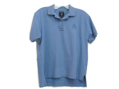 Faconnable Golf Polo Shirt Mens Size Small Blue Embroidered Bird Logo on Chest