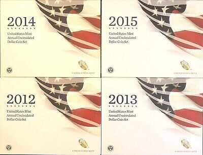 2012, 2013, 2014, 2015, ANNUAL UNCIRCULATED DOLLAR SETS, Excellent Condition
