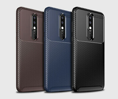 For Nokia 5.1 Plus Matte Frosted Protective TPU Back Cover Carbon Fiber Case SYD