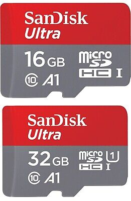 MicroSD SDHC Karte SanDisk Ultra A1 Class 10 inklusive SD Adapter - 16GB 32GB