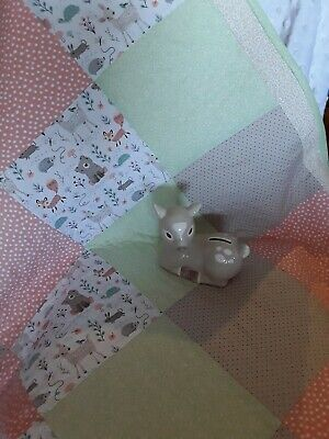 "Handmade Cot Quilt   ""Foxy and friends """