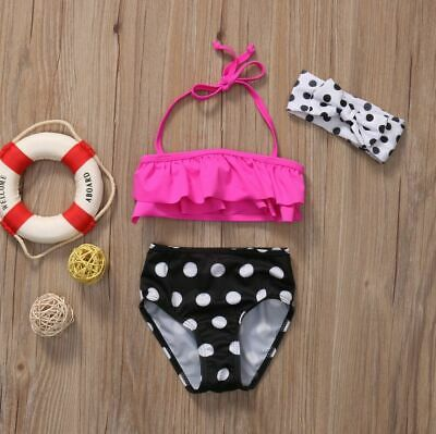 Girls Two-piece Polka Dots Swimsuit Kids Baby Bikini Suit Swimwear Beach Bathing