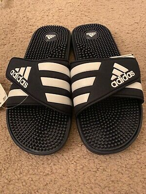 f2689bdb5eb2 Adidas Adissage Men s Navy   White Flip Flops Sandals Size 12