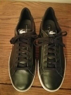 3ef5428e6d38d LACOSTE BLACK LEATHER Low Sneakers Men s Size 13 Logo Ankle Casual ...