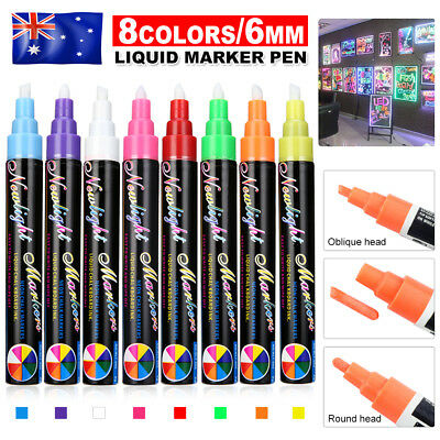 8 Colours Dual Nib 6mm Neon Liquid Chalk Pen Marker Blackboard Glass Window OZ