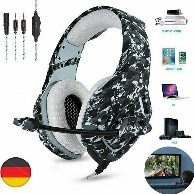 Gaming Kopfhörer PS4 Headset mit Mikrofon LED Surround Sound Stereo Bass Für PC