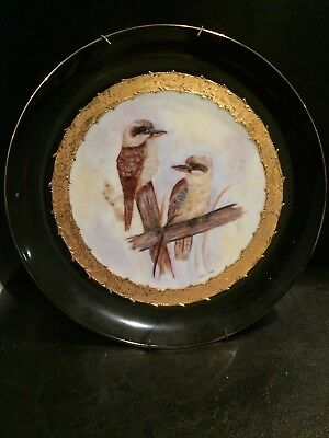 """Large Hand Painted Wall / Display Plate - """"KOOKABURRAS"""" Signed with Hanging Wire"""
