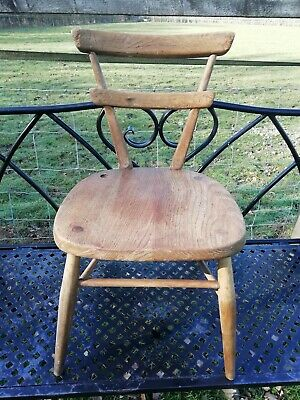 Vintage Mid Century Ercol Red Dot Stacking School Chair Elm Seat 1960's Solid