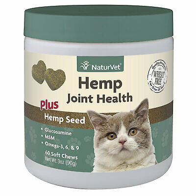 NaturVet Hemp Joint Health Plus Hemp Seed Soft Chew for Cats, Count of 60