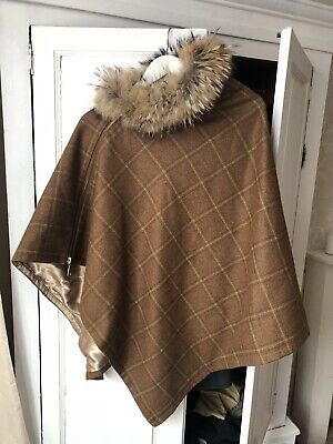 Holland Cooper Fur Tweed Wrap Cape One Size Worn Once 124 00 Picclick Uk