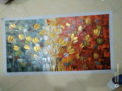 Huge Modern Abstract Art Deco Canvas Art Wall Decor Oil Painting Fower No Frame