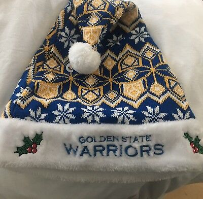 bb908dfec3090 NBA Golden State Warriors Holiday Christmas Santa Hat w White Out Tee Shirt  2018