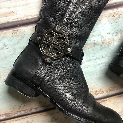 c556040de782 Tory Burch Size 8 Black Amanda Tumbled Valencia Leather Riding Boots Gold T  Logo