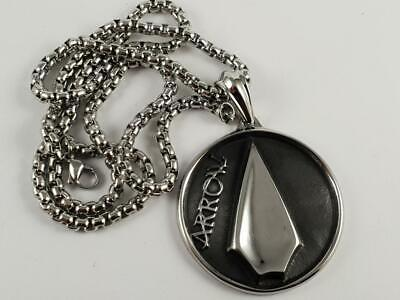Stainless Steel Arrow pendant and necklace 60cm chain tv show Oliver Queen