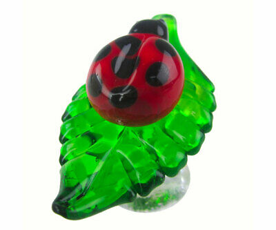 COLLECTIBLE BLOWN GLASS CREATURES BOTTLE STOPPER - Lady Bug On Leaf 14302