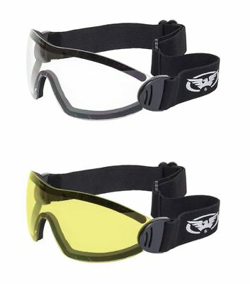 2 Padded Skydiving Motorcycle Goggles Clear Yellow Googles Paragliding Sailing