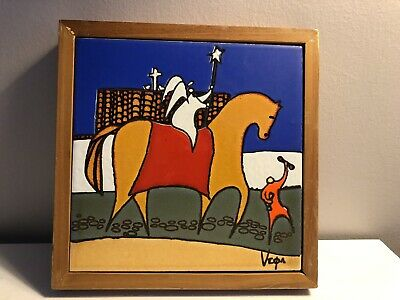 "Ecuadorian  Eduardo Vega 9"" Hand-Painted/Signed Framed Square Ceramic Tile"
