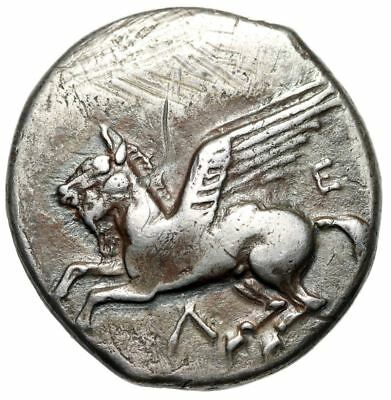 "Akarnania, Leukas AR Stater ""Pegasus Flying & Athena, Lizard"" VF Very Rare"