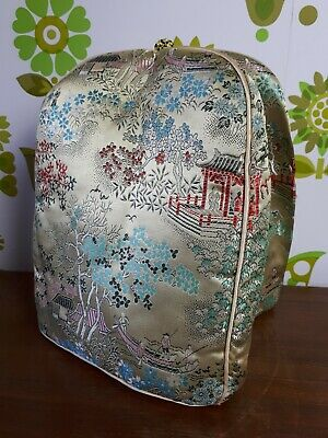 Vintage Chinese Satin Gold/Green/Red Padded Teapot/Tea Cosy Cozy Oriental (10)