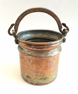 Antique Vintage Hand Wrought Anatolian Copper Bucket Pail Pot with Handle