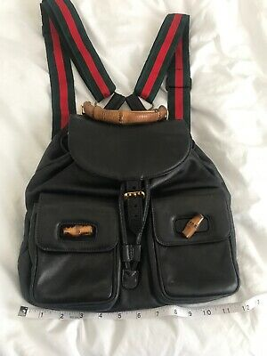 2edd0e354dc6 Authentic GUCCI Bamboo Backpack Hand Bag Black Leather Vintage Custom Straps