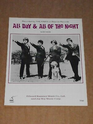 """Kinks """"All Day And All Of The Night"""" US sheet music"""