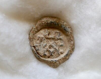 Early Byzantine Conical Lead Seal With Monogram Of Epistates. A Nice Piece!