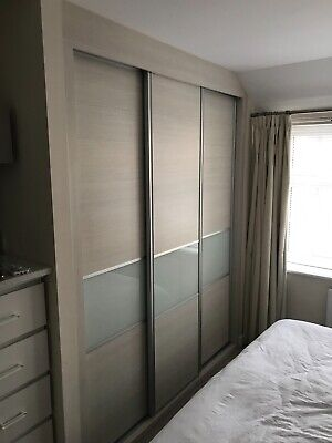 competitive price dff67 d0d3b SET OF THREE Hammonds sliding wardrobe doors with runners and internal  parts.