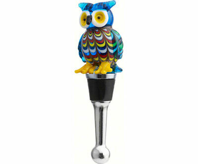 Collectible Blown Glass Creatures Bottle Stopper -  Owl - Bs-394