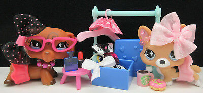 Littlest Pet Shop #639 640 Dachshund Corgi Dog Bows Original Skirt Accessories