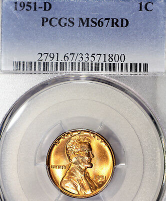 1951-D MS67 RD Lincoln Wheat Cent 1c Red Penny, PCGS Graded, Registry Quality!