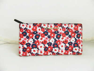 4acb136a18ba MICHAEL KORS Large Jet Set Carnation Print Wallet in Begonia NWTs COLORFUL!
