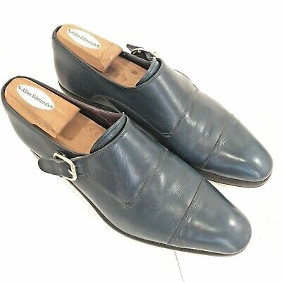 Carmina Mens Blue Single Monk Strap Leather Dress Shoe 8 US / 41 UK Cap Toe Calf