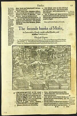 1575 BISHOPS' BIBLE LEAF ILLUSTRATED - 1ST EDITION - 2nd BOOK OF MOSES - EXODUS