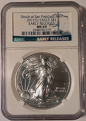 2011 (S) USA American Silver Eagle NGC MS 69 San Francisco Early Release ASE ER