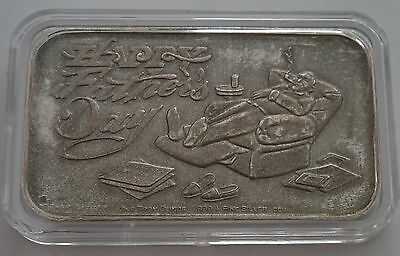 1982 Fathers Day Crown Mint 1 oz .999 Fine Silver Rare Old Vintage Art Bar