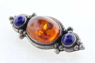 Vintage Signed TS JC Sterling Silver 925 Baltic Amber & Blue Lapis Brooch Pin