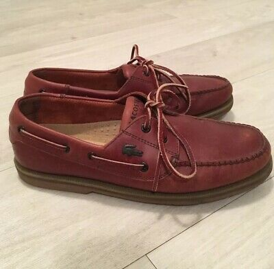 9ed8b2c6ca LACOSTE LEATHER BOATING Shoes Mens UK Size 8 Good Condition