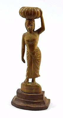 Vintage Nice hand crafted Indian tradition wooden women figurine. i71-258 US