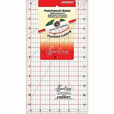 "SEW EASY NL4180 - ACRYLIC PATCHWORK RULER - 12 x 6½in - QUILTING - 12"" x 6.5"""
