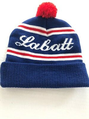 d653859d6d4 Labatt Blue Hat Cap Beer Beanie Winter Pom Pom Knit Ski Canadian Beer Store