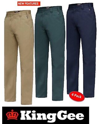 King Gee - Pack Of 4 Pairs - Mens Steel Tough Drill Work Pants Trousers - K03010