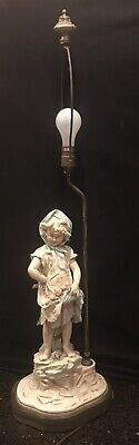 """MidCentuy HandPainted Bisque Figural Lamp """"Peasant Girl w Peaches"""""""