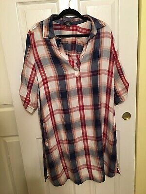 0cd893f5405 SZ S CHELSEA Theodore Plaid 3 4 Sleeve Tunic Top Tee NWOT -  5.99 ...